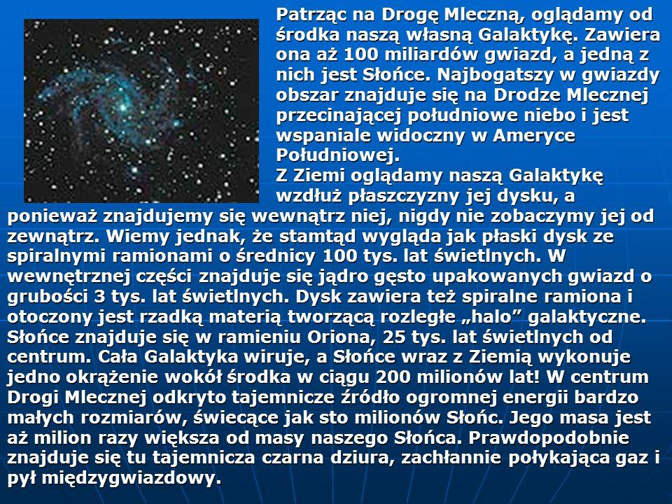 Patrząc na Drogę Mleczną, oglądamy od. środka naszą własną Galaktykę