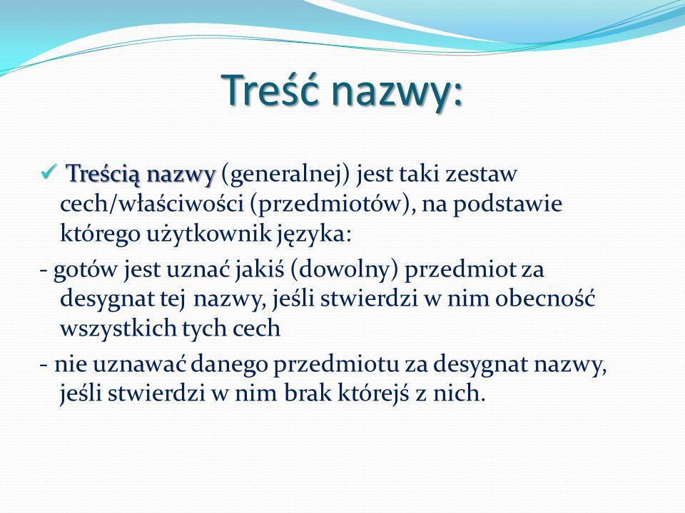Treść nazwy: Treścią nazwy (generalnej) jest taki zestaw cech/właściwości (przedmiotów), na podstawie którego użytkownik języka: