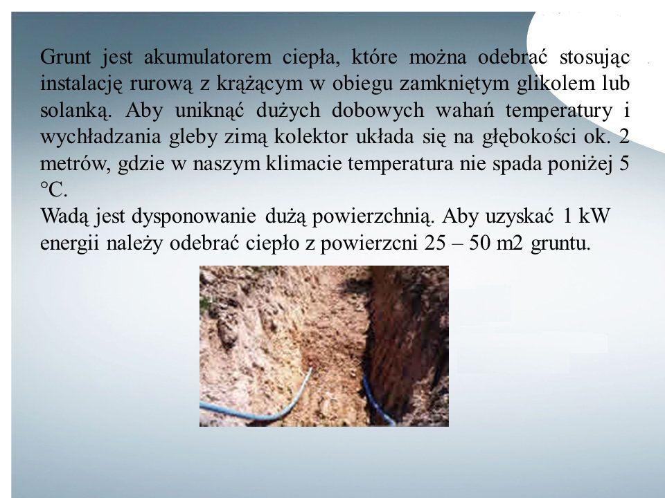 Grunt jest akumulatorem ciepła, które można odebrać stosując instalację rurową z krążącym w obiegu zamkniętym glikolem lub solanką. Aby uniknąć dużych dobowych wahań temperatury i wychładzania gleby zimą kolektor układa się na głębokości ok. 2 metrów, gdzie w naszym klimacie temperatura nie spada poniżej 5 °C.
