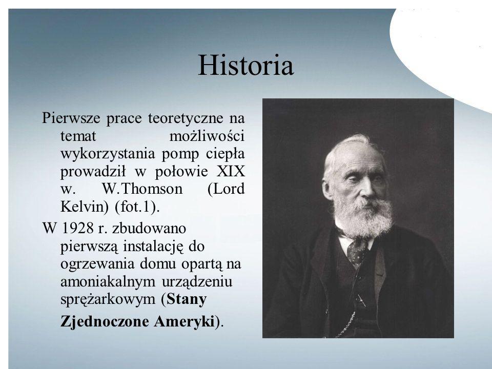 Historia Pierwsze prace teoretyczne na temat możliwości wykorzystania pomp ciepła prowadził w połowie XIX w. W.Thomson (Lord Kelvin) (fot.1).