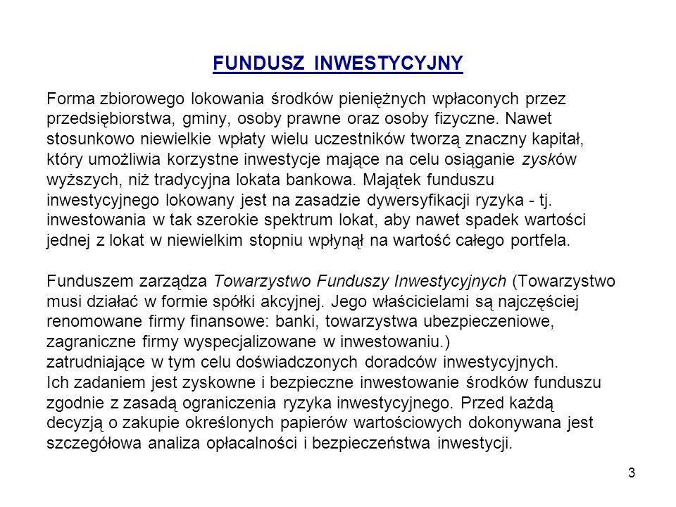 FUNDUSZ INWESTYCYJNY Forma zbiorowego lokowania środków pieniężnych wpłaconych przez.