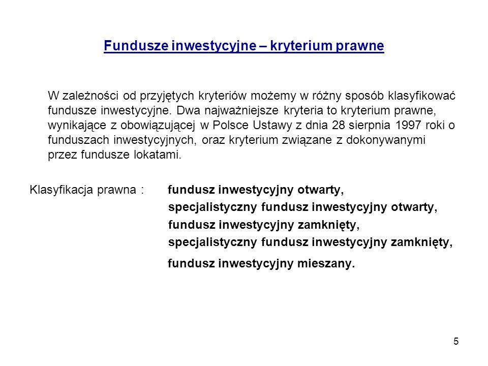 Fundusze inwestycyjne – kryterium prawne