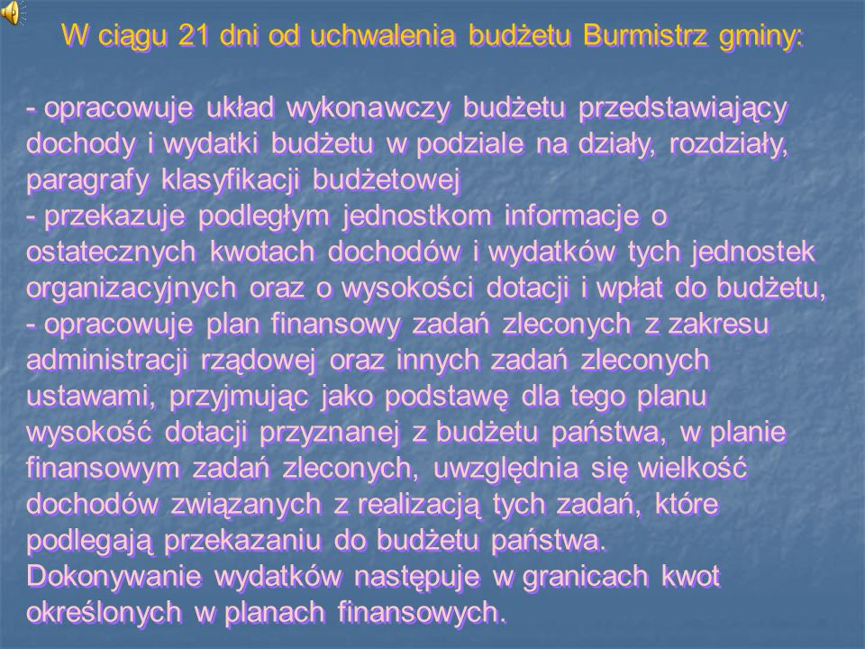 W ciągu 21 dni od uchwalenia budżetu Burmistrz gminy: