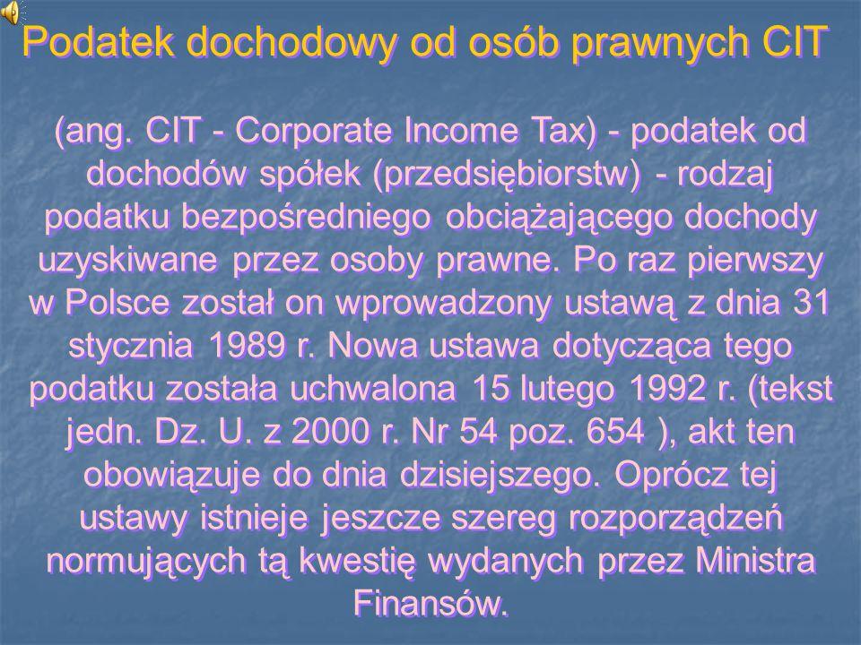 Podatek dochodowy od osób prawnych CIT