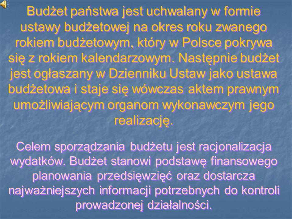 Budżet państwa jest uchwalany w formie ustawy budżetowej na okres roku zwanego rokiem budżetowym, który w Polsce pokrywa się z rokiem kalendarzowym. Następnie budżet jest ogłaszany w Dzienniku Ustaw jako ustawa budżetowa i staje się wówczas aktem prawnym umożliwiającym organom wykonawczym jego realizację.