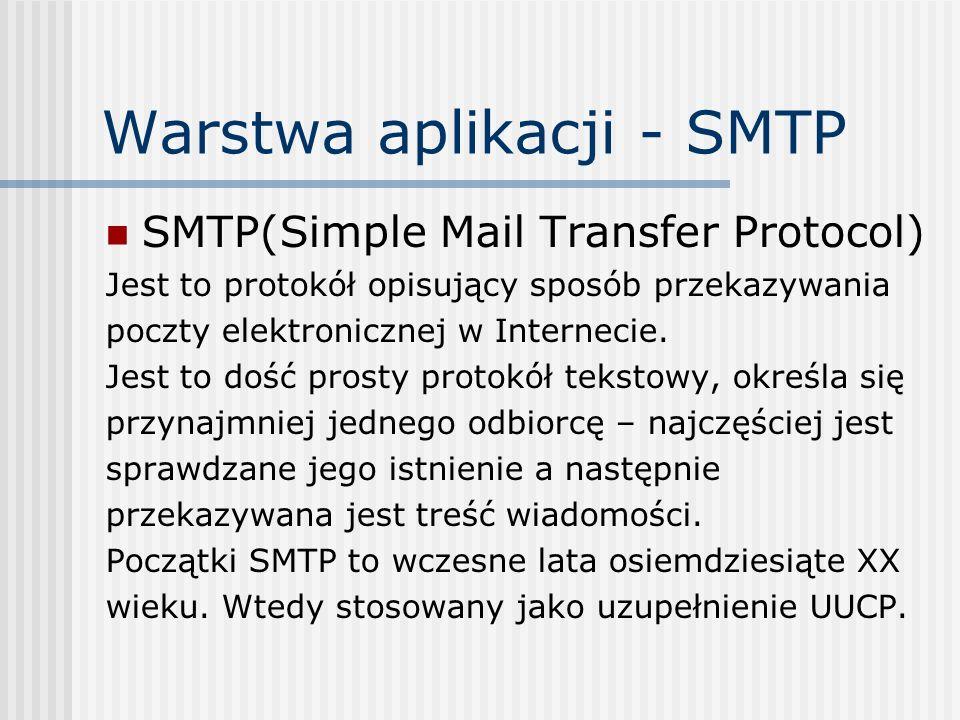 Warstwa aplikacji - SMTP