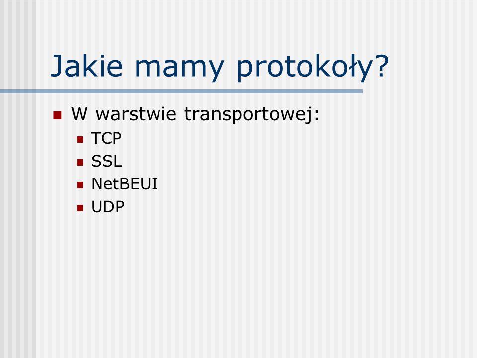 Jakie mamy protokoły W warstwie transportowej: TCP SSL NetBEUI UDP