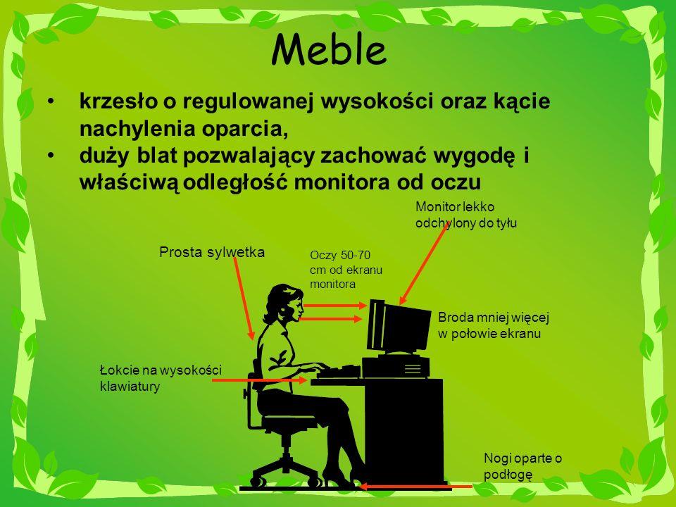 Meble krzesło o regulowanej wysokości oraz kącie nachylenia oparcia,