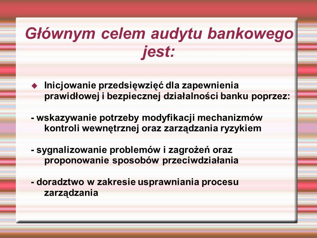 Głównym celem audytu bankowego jest: