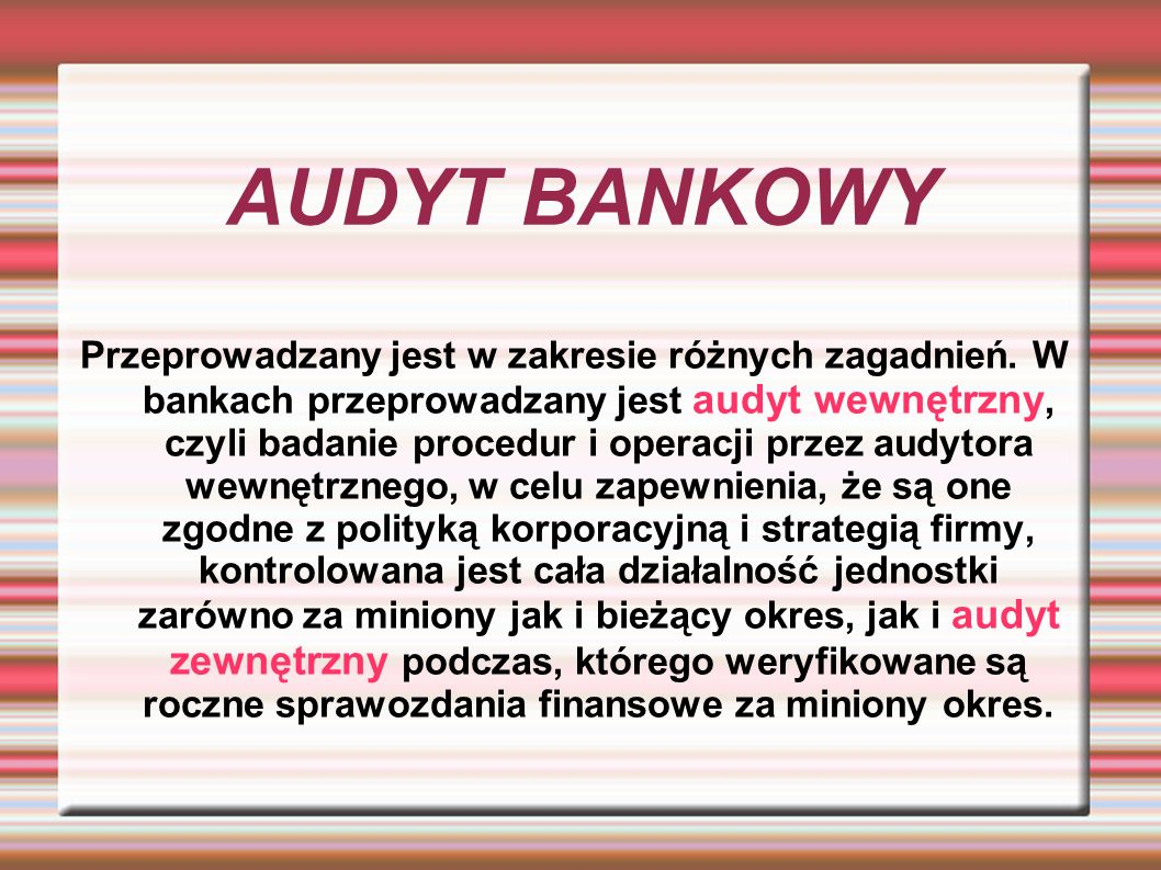 AUDYT BANKOWY