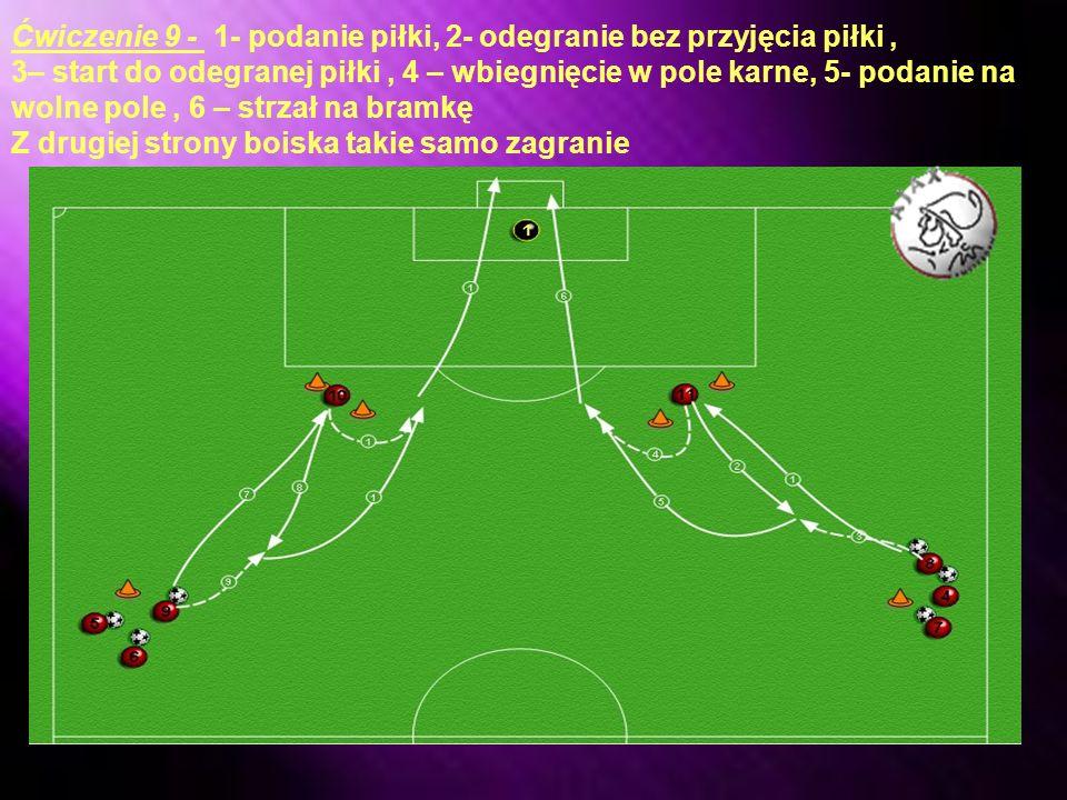 Ćwiczenie 9 - 1- podanie piłki, 2- odegranie bez przyjęcia piłki ,
