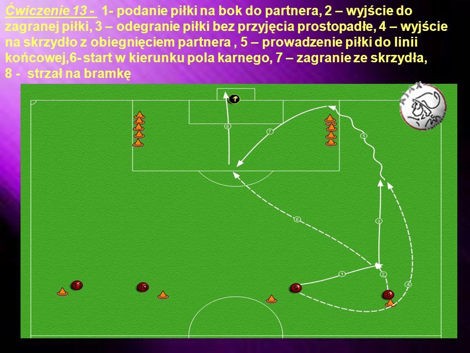 Ćwiczenie 13 - 1- podanie piłki na bok do partnera, 2 – wyjście do zagranej piłki, 3 – odegranie piłki bez przyjęcia prostopadłe, 4 – wyjście na skrzydło z obiegnięciem partnera , 5 – prowadzenie piłki do linii końcowej,6- start w kierunku pola karnego, 7 – zagranie ze skrzydła,