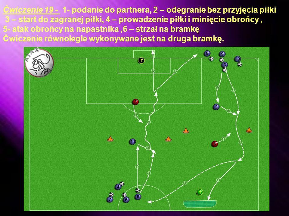 Ćwiczenie 19 - 1- podanie do partnera, 2 – odegranie bez przyjęcia piłki