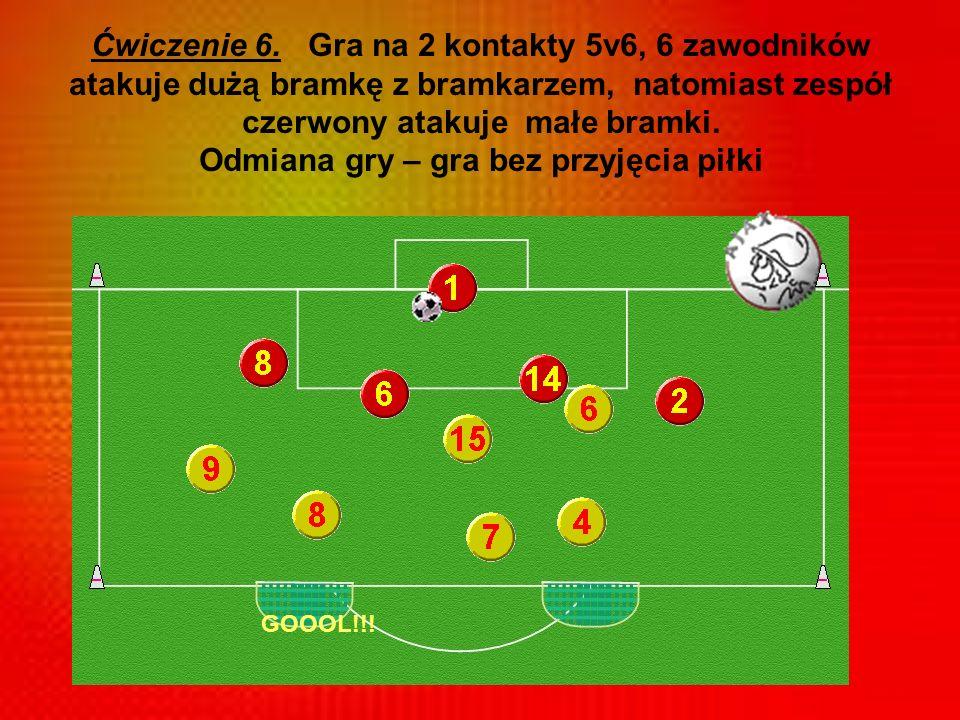 Ćwiczenie 6. Gra na 2 kontakty 5v6, 6 zawodników atakuje dużą bramkę z bramkarzem, natomiast zespół czerwony atakuje małe bramki. Odmiana gry – gra bez przyjęcia piłki