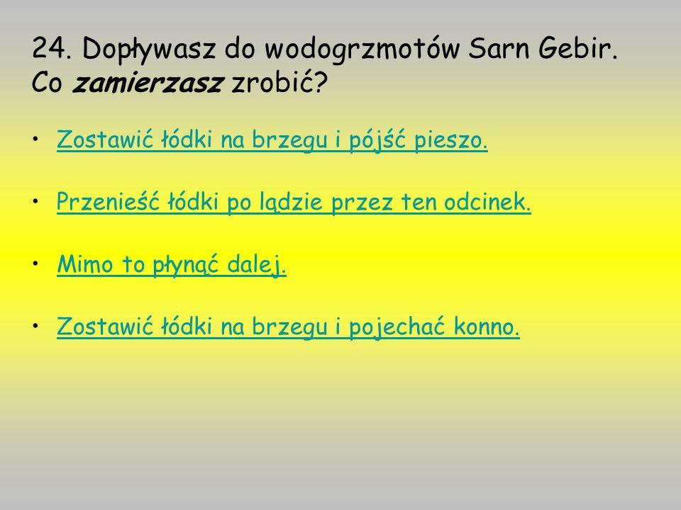 24. Dopływasz do wodogrzmotów Sarn Gebir. Co zamierzasz zrobić
