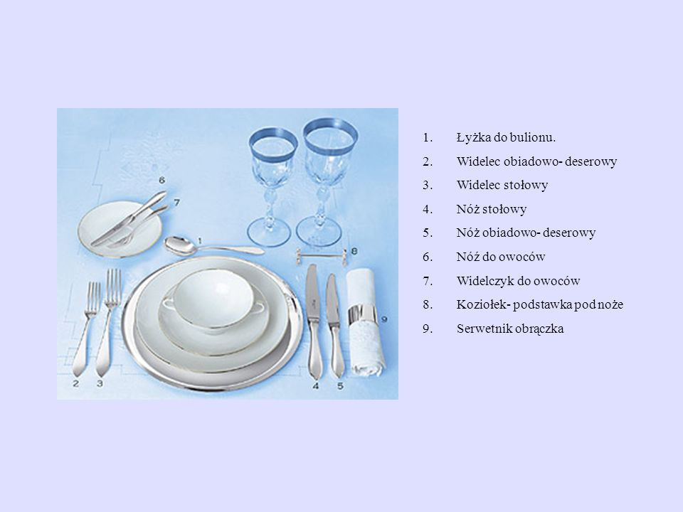Łyżka do bulionu. Widelec obiadowo- deserowy. Widelec stołowy. Nóż stołowy. Nóż obiadowo- deserowy.