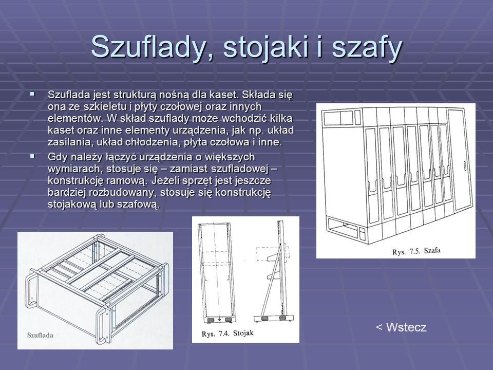 Szuflady, stojaki i szafy