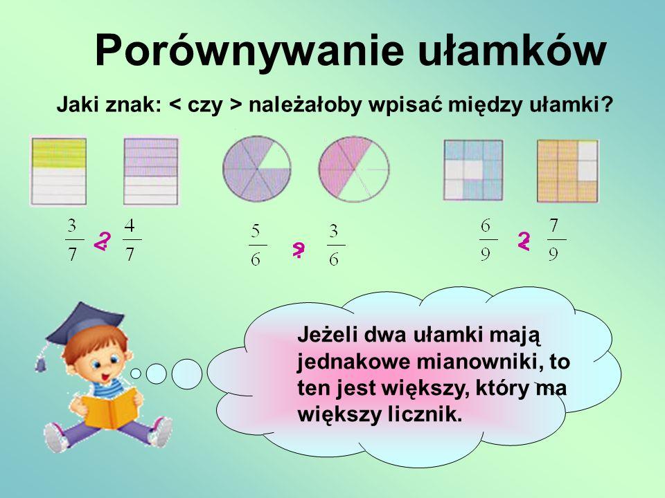 Porównywanie ułamków Jaki znak: < czy > należałoby wpisać między ułamki < < >