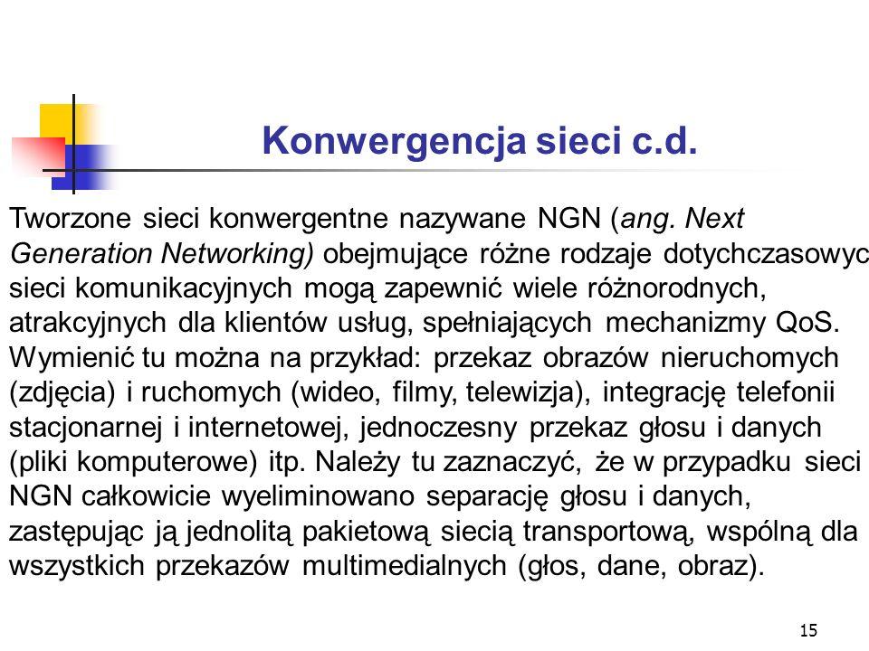 Konwergencja sieci c.d. Tworzone sieci konwergentne nazywane NGN (ang. Next. Generation Networking) obejmujące różne rodzaje dotychczasowych.