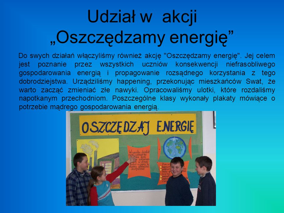 """Udział w akcji """"Oszczędzamy energię"""