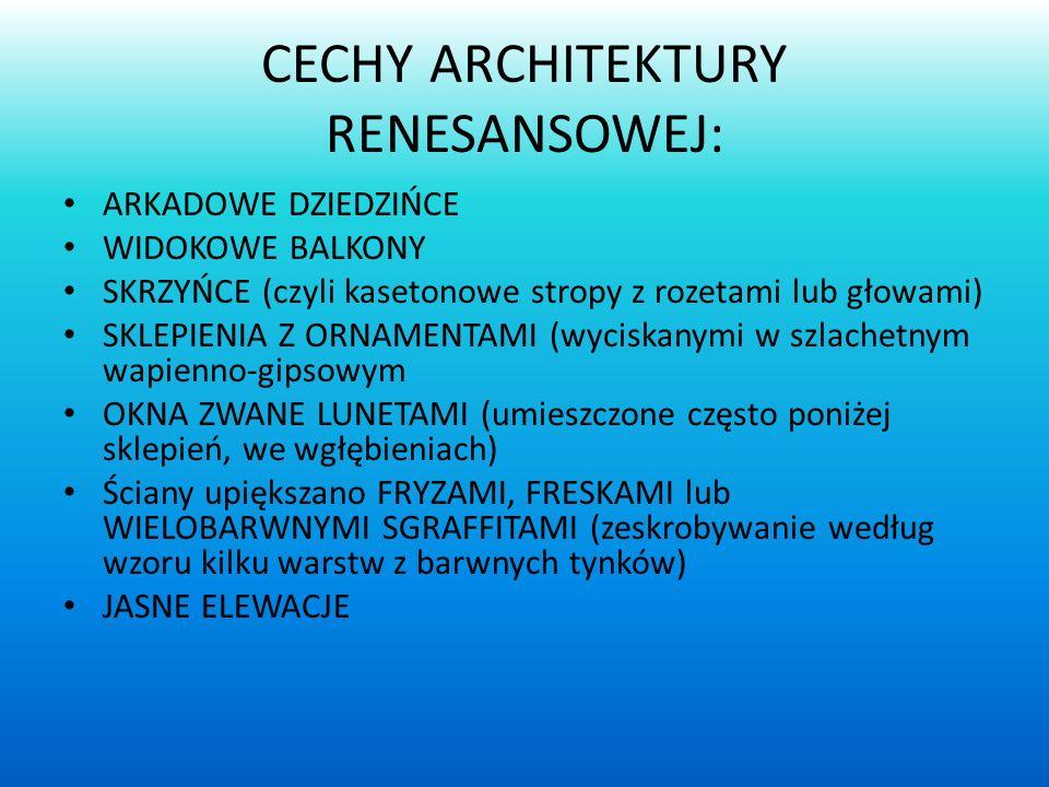 CECHY ARCHITEKTURY RENESANSOWEJ: