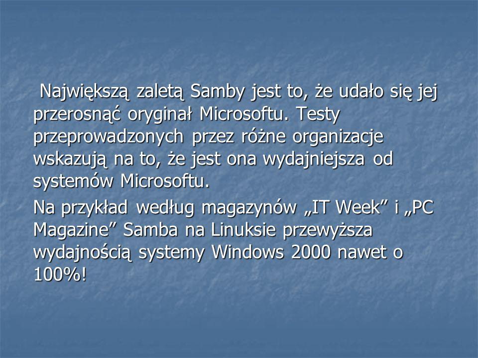 Największą zaletą Samby jest to, że udało się jej przerosnąć oryginał Microsoftu. Testy przeprowadzonych przez różne organizacje wskazują na to, że jest ona wydajniejsza od systemów Microsoftu.