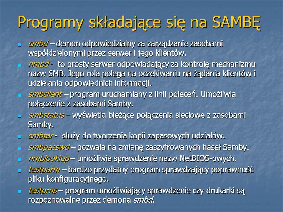 Programy składające się na SAMBĘ