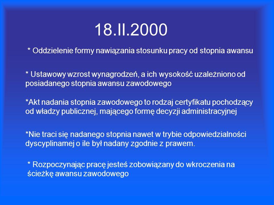 18.II.2000* Oddzielenie formy nawiązania stosunku pracy od stopnia awansu.