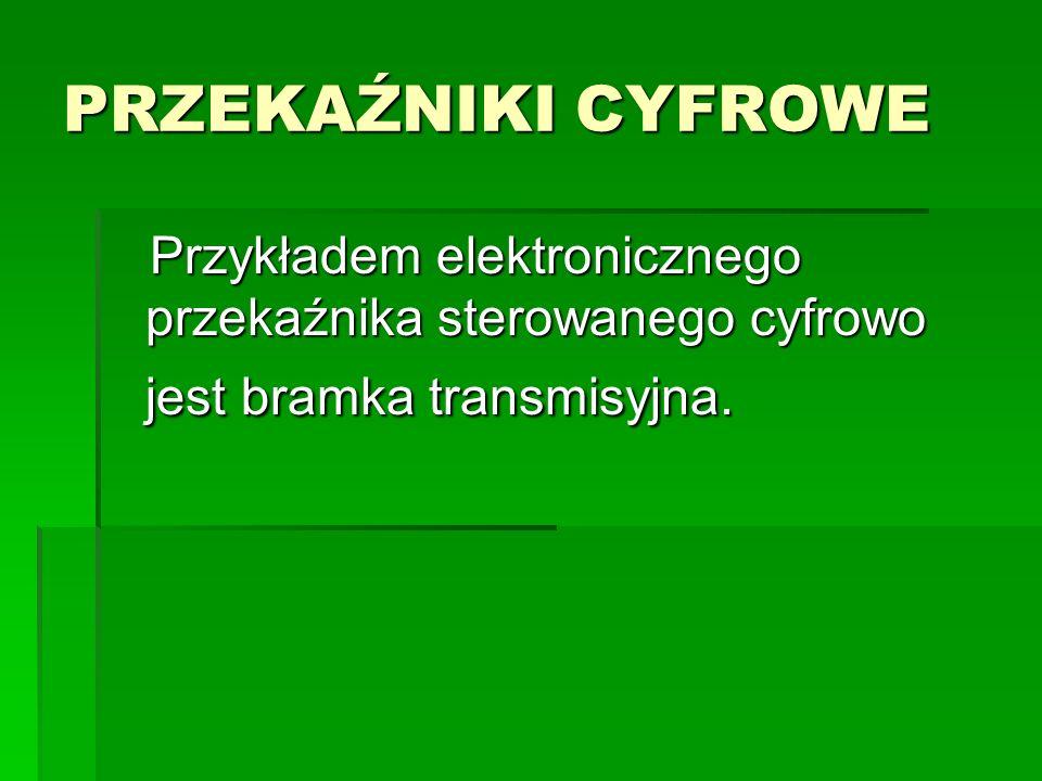 PRZEKAŹNIKI CYFROWE Przykładem elektronicznego przekaźnika sterowanego cyfrowo jest bramka transmisyjna.