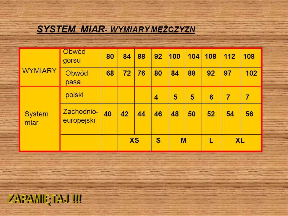SYSTEM MIAR- WYMIARY MĘŻCZYZN