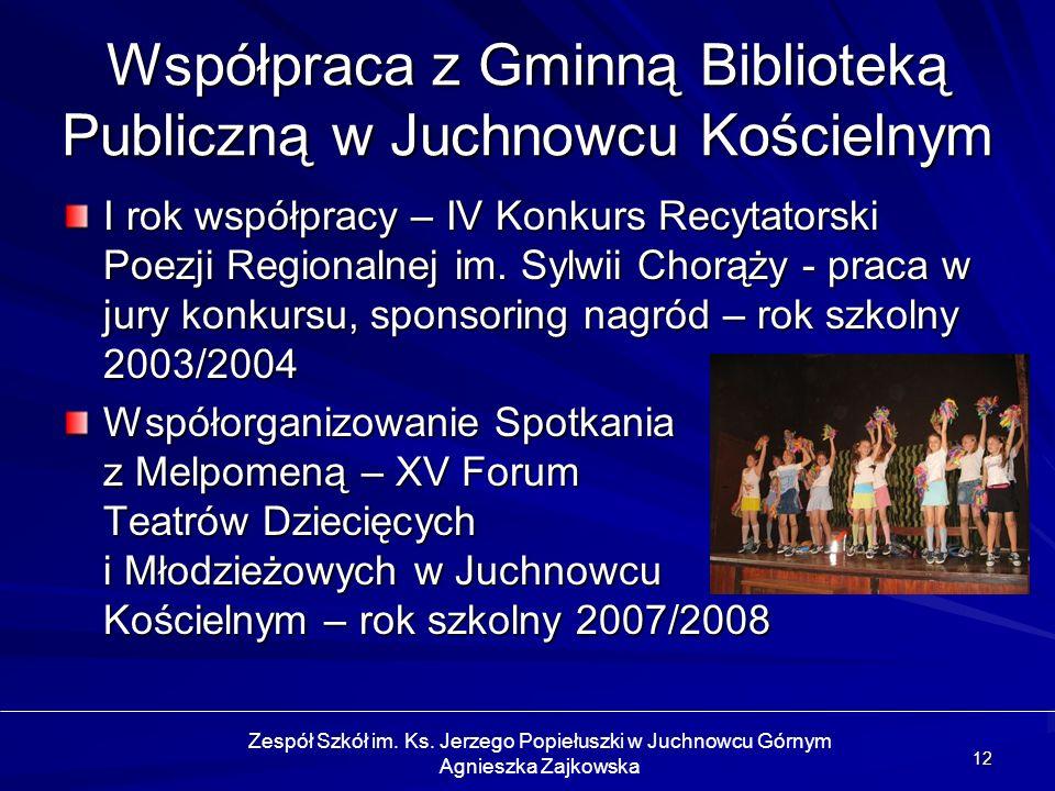 Współpraca z Gminną Biblioteką Publiczną w Juchnowcu Kościelnym