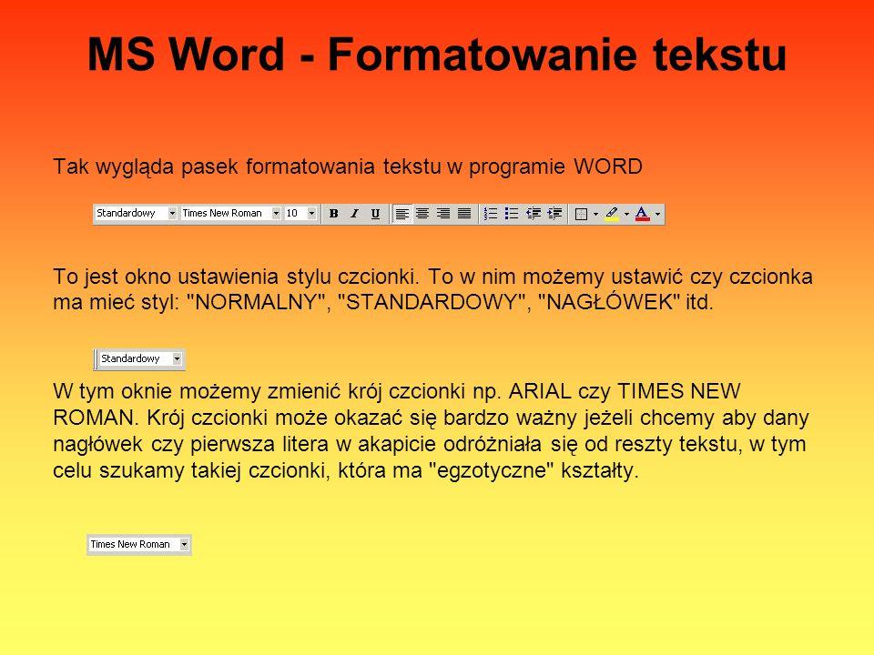 MS Word - Formatowanie tekstu