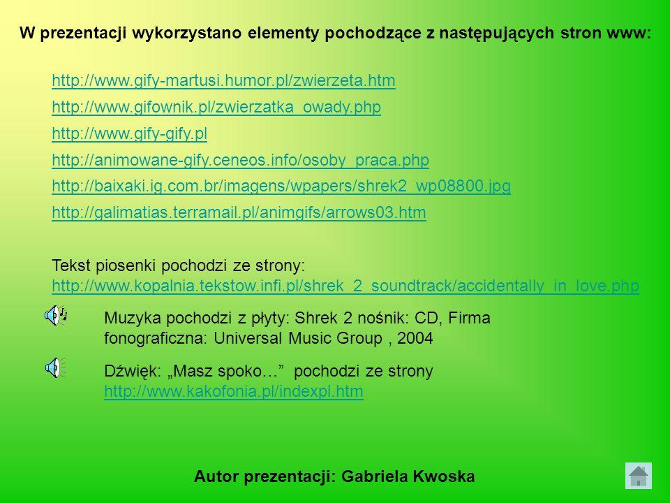 W prezentacji wykorzystano elementy pochodzące z następujących stron www: