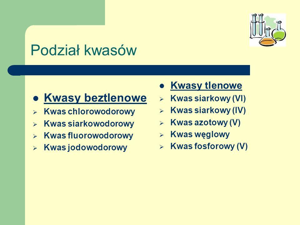 Podział kwasów Kwasy beztlenowe Kwasy tlenowe Kwas siarkowy (VI)