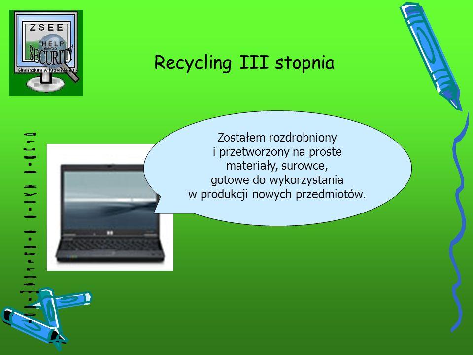 Recycling III stopnia drugie życie elektrośmieci Zostałem rozdrobniony