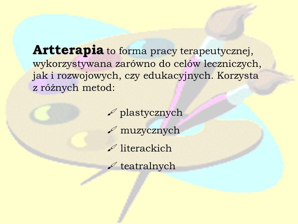 Artterapia to forma pracy terapeutycznej, wykorzystywana zarówno do celów leczniczych, jak i rozwojowych, czy edukacyjnych. Korzysta z różnych metod: