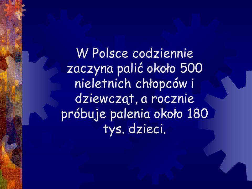 W Polsce codziennie zaczyna palić około 500 nieletnich chłopców i dziewcząt, a rocznie próbuje palenia około 180 tys.