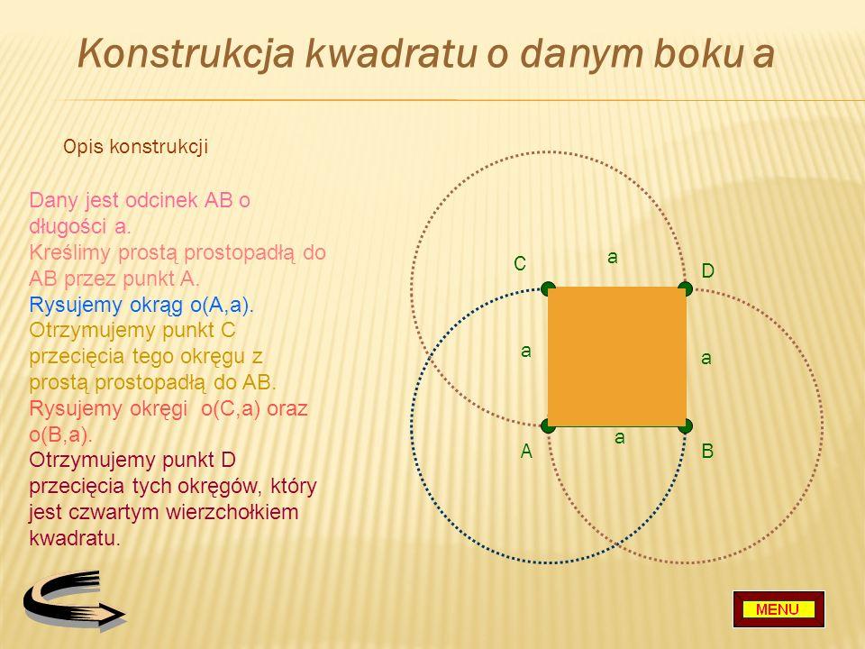 Konstrukcja kwadratu o danym boku a
