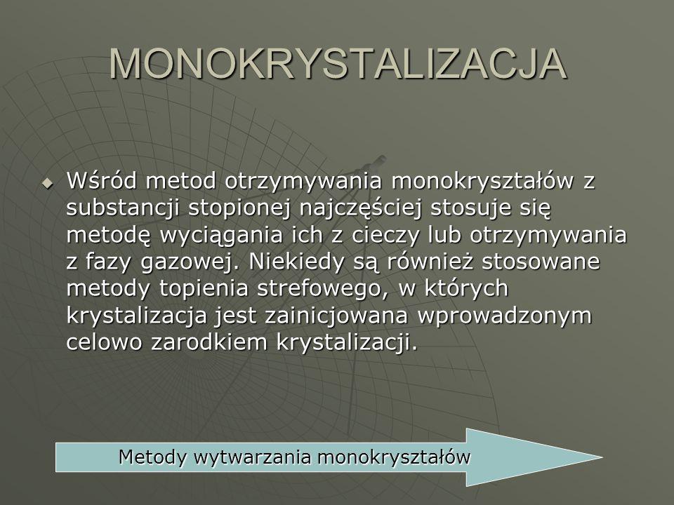 Metody wytwarzania monokryształów