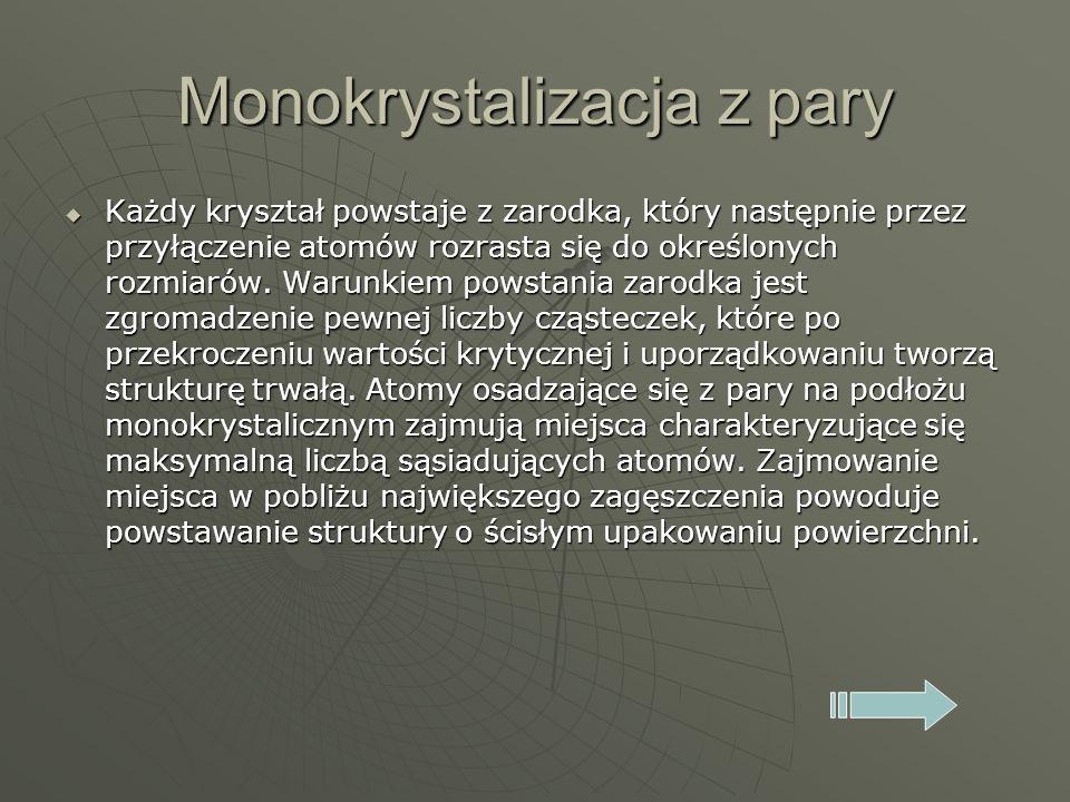 Monokrystalizacja z pary