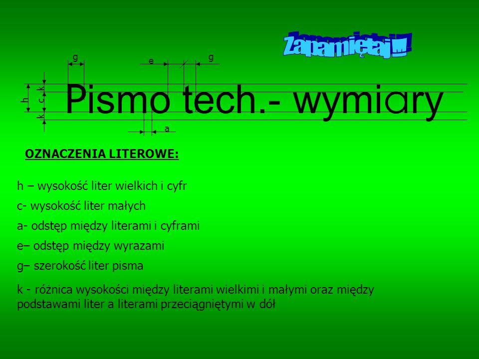 Pismo tech.- wymiary Zapamiętaj !!! OZNACZENIA LITEROWE:
