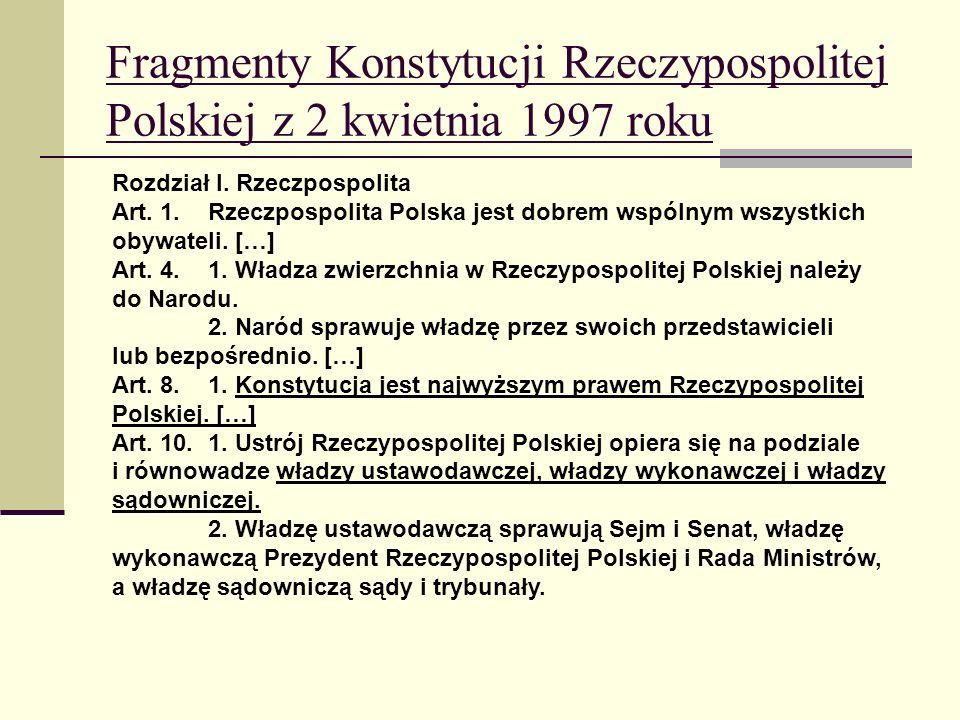 Fragmenty Konstytucji Rzeczypospolitej Polskiej z 2 kwietnia 1997 roku