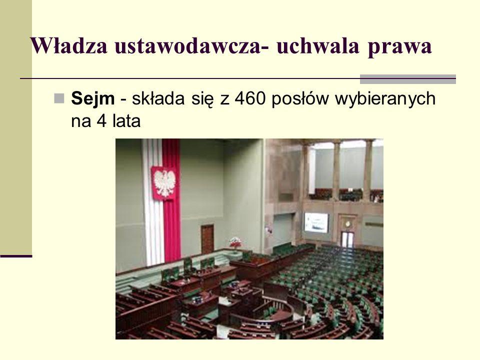Władza ustawodawcza- uchwala prawa
