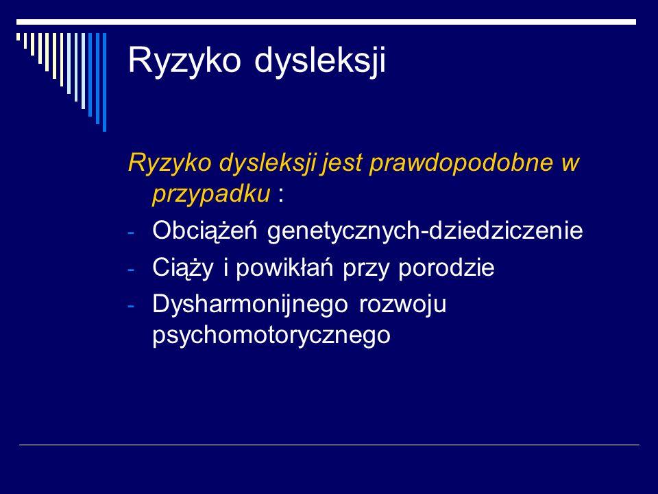 Ryzyko dysleksji Ryzyko dysleksji jest prawdopodobne w przypadku :