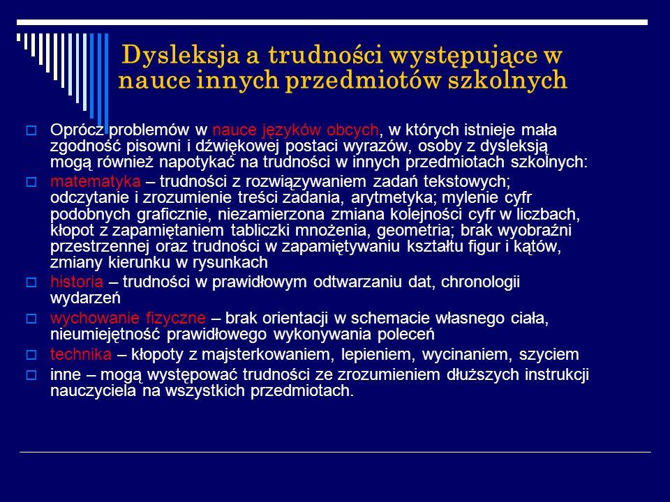 Dysleksja a trudności występujące w nauce innych przedmiotów szkolnych