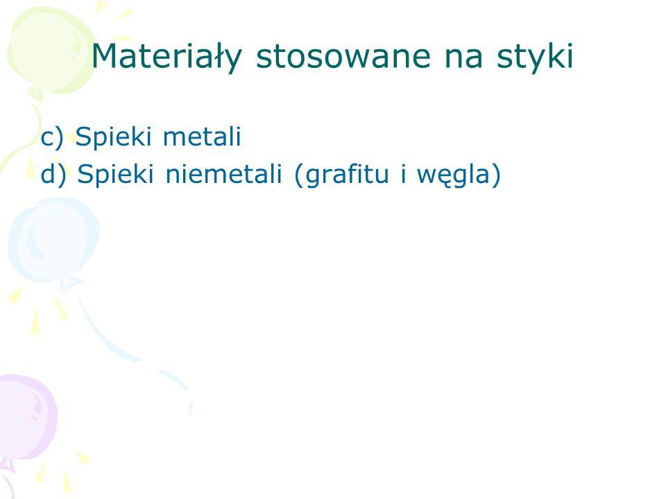 Materiały stosowane na styki