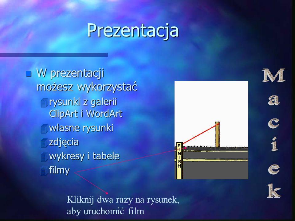 Prezentacja Maciek W prezentacji możesz wykorzystać