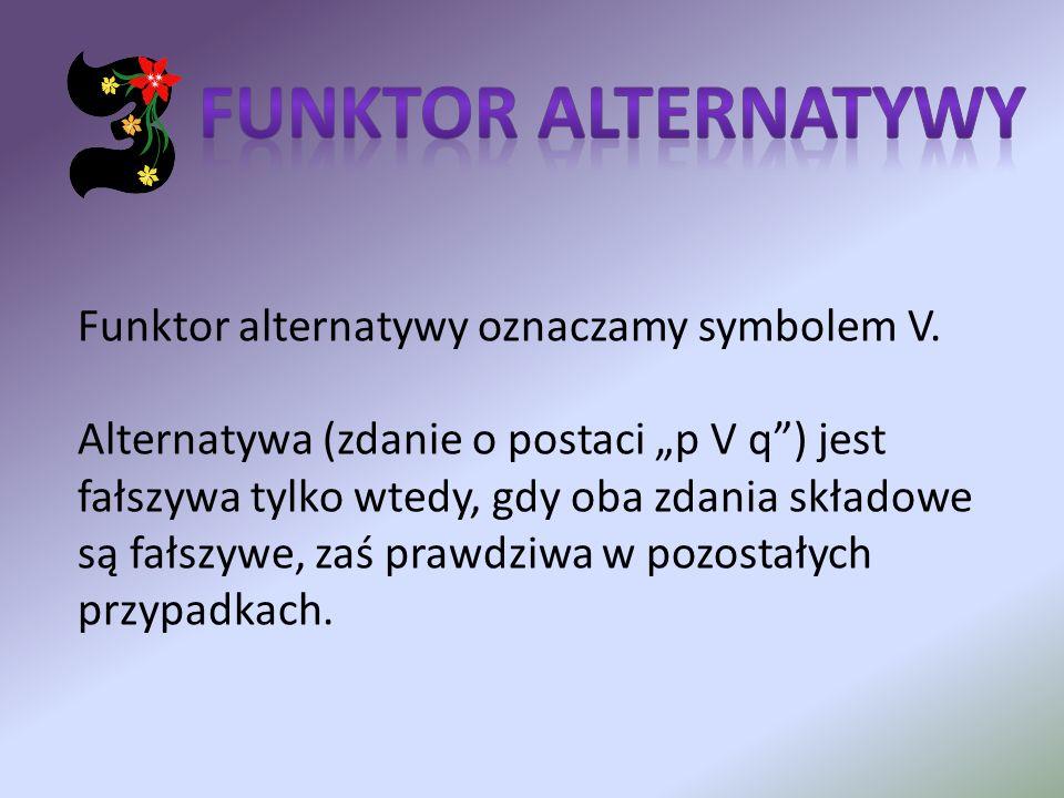 FUNKTOR ALTERNATYWY Funktor alternatywy oznaczamy symbolem V.