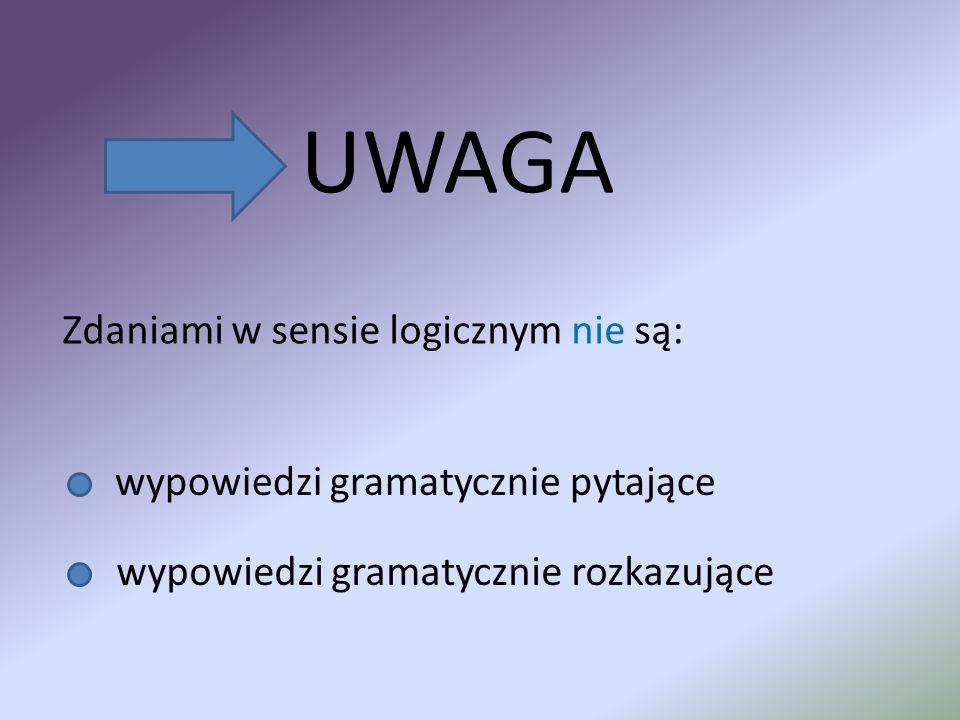UWAGA Zdaniami w sensie logicznym nie są: