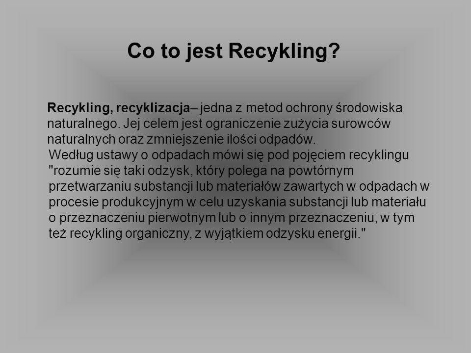 Co to jest Recykling Recykling, recyklizacja– jedna z metod ochrony środowiska. naturalnego. Jej celem jest ograniczenie zużycia surowców.